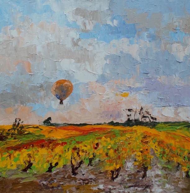 "Balloon in the Setting Sun oil on board plein air 16""x16"" £ 275"