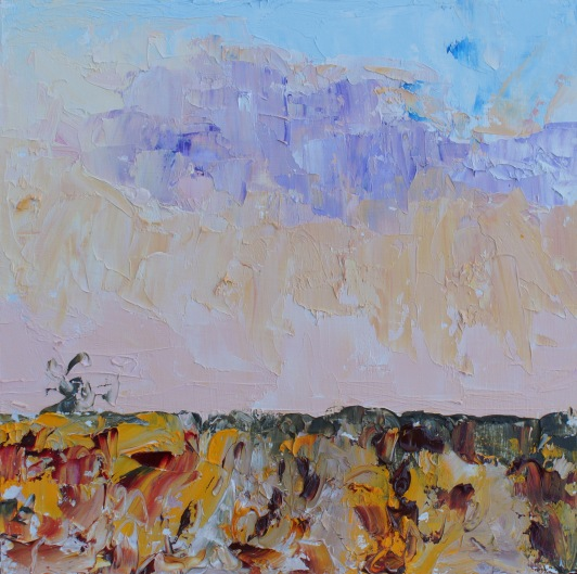 "Autumn Colours 5pm - oil on board plein air 8""x8"" £ 145"