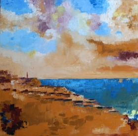 """Beach Huts and Boats - oil painting on canvas 24"""" x 24"""""""