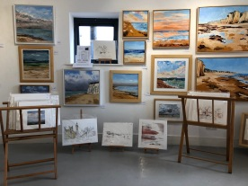 Horsebridge Arts Centre Solo Exhibition 1st to 14th August 2018 Art on the Beach this is a photo of the exhibition showing seascapes and prints