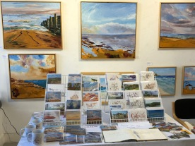 Solo Exhibition in the Whitstable Horsebridge Arts Centre Ann Palmer solo exhibition 1-14 August 2018 Art on the Beach photo of display of cards and oil paintings
