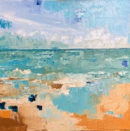 "Windy Day - plein air beach painting oil on hadnstretched canvas 12"" x 12"""