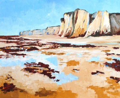 "Towards Dover - Botany Bay (Kent, UK) 30"" x 24"" oil on hand stretched canvas"