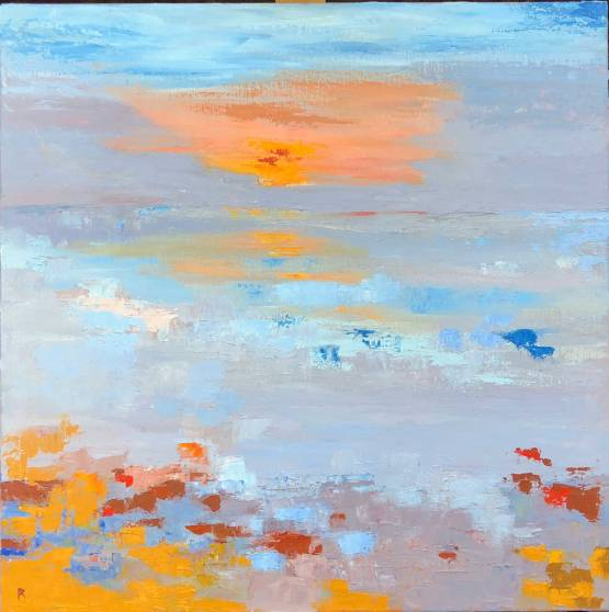 "Whitstable Sunset oil on canvas 24"" x 24"" £ 720"