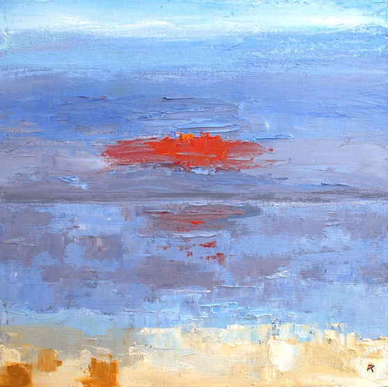 "End of the Day - a Whitstable Sunset - oil on hand stretched canvas 14"" x 14"" £ 255"