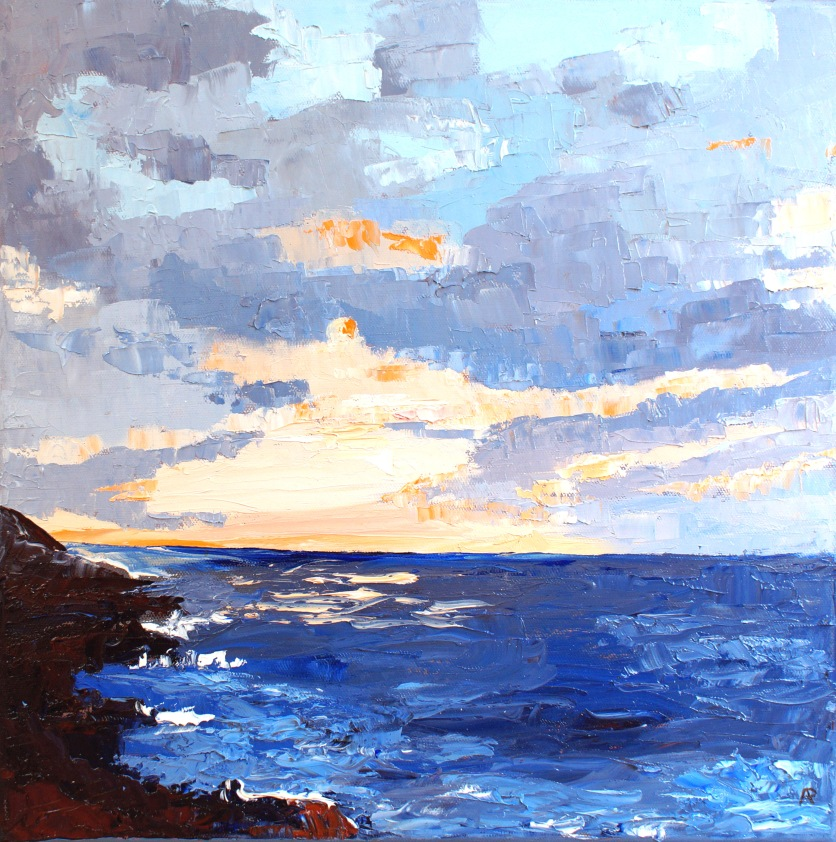 "Cornish Sunset oil on canvas 16"" x16"" £ 385"