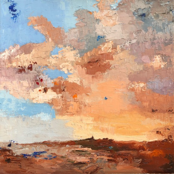 "Vrigny Sunset - oil on hand stretched canvas 18"" x 18"" £ 325"
