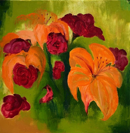 "Lilies and Carnations 16"" x 16"" oil on canvas"